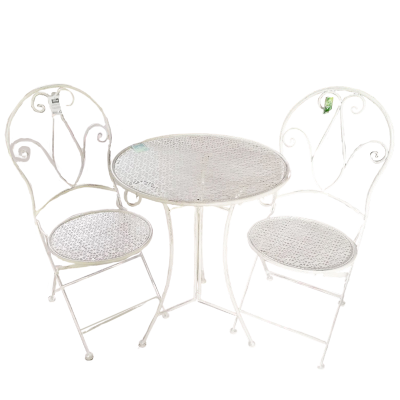 Conjunto Mesa e 2 cadeiras Metal Branco