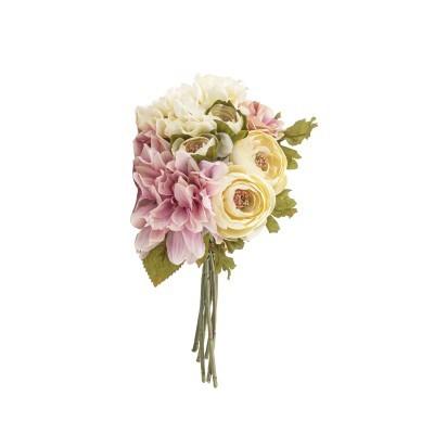 Bouquet flores creme/rosa