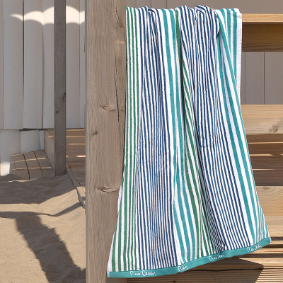 Toalha de Praia riscas Verde e azul Pierre Cardin