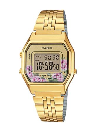 Relógio Dourado com Rosas