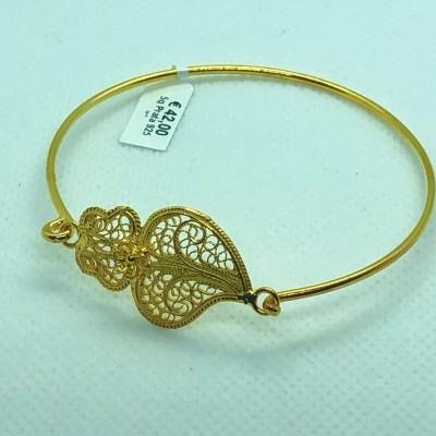 Pulseira Prata Dourada Coração de Viana